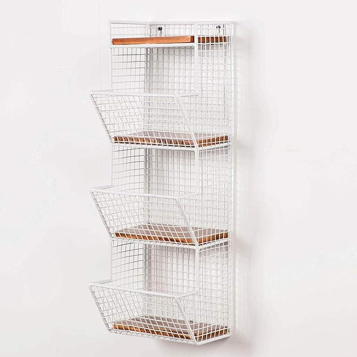 日焼け適度な復讐耐久性のある錬鉄製の壁棚壁掛け棚壁掛け収納棚4層 AMINIY (Color : White)