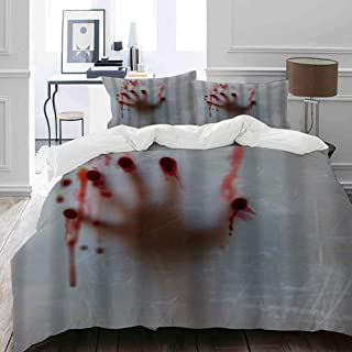 NIKIVIVI Duvet Cover Set Soft Cozy Home Collections for Girls Teen Adults Bedding Sets(Queen/Full, Style Horror House Halloween Blood Hand Red Decoration Behind Gray Background)
