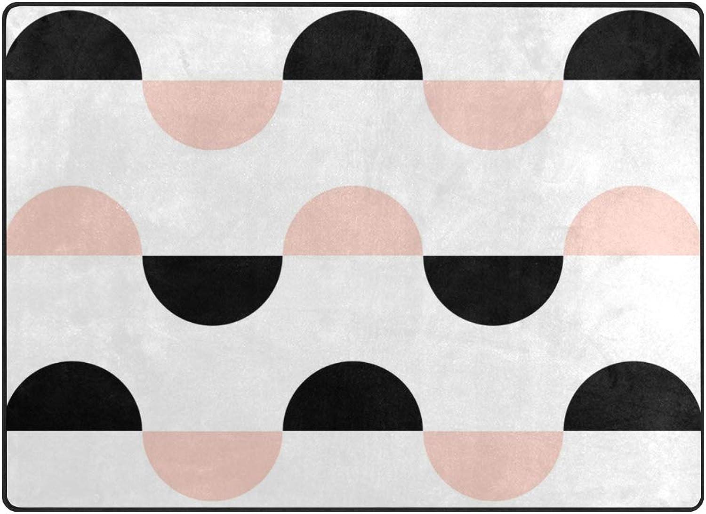 FAJRO Black and Pink Semicircles Polyester Entry Way Doormat Area Rug Multipattern Door Mat Floor Mats shoes Scraper Home Dec Anti-Slip Indoor Outdoor