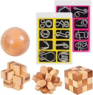 20 Pcs Brain Teaser Puzzle, Unlock Interlock IQ Test Game, Wooden and Metal Wire Puzzle for Kids and Adults
