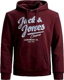 Jack & Jones - Felpa con cappuccio da uomo, taglie forti, con logo 2 Col 3XL 4XL 5XL
