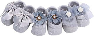Calcetines para bebé recién nacido con lazo y nudo de encaje para el suelo, calzado antideslizante, 3 unidades