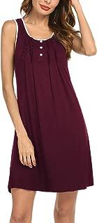 Hotouch Womens Nightgowns Cotton Sleeveless Night Shirts Scoop Neck Sleep Dress S-XXL