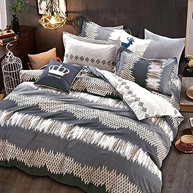 Essina King Duvet Cover Set 3pc Rosetta Collection, 100% Cotton 620 thread count, Reversible Duvet Cover, Pillow Sham, Amore