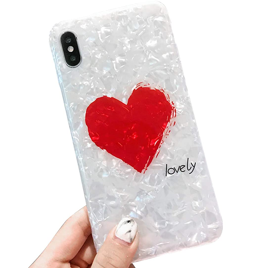 Compatible iPhone Xs Max Case for Girls, Glitter Pearly-Lustre Translucent Shell with Love-Heart Pattern Phone Case Slim Soft TPU Cover for iPhone Xs Max 6.5 Inch (White)