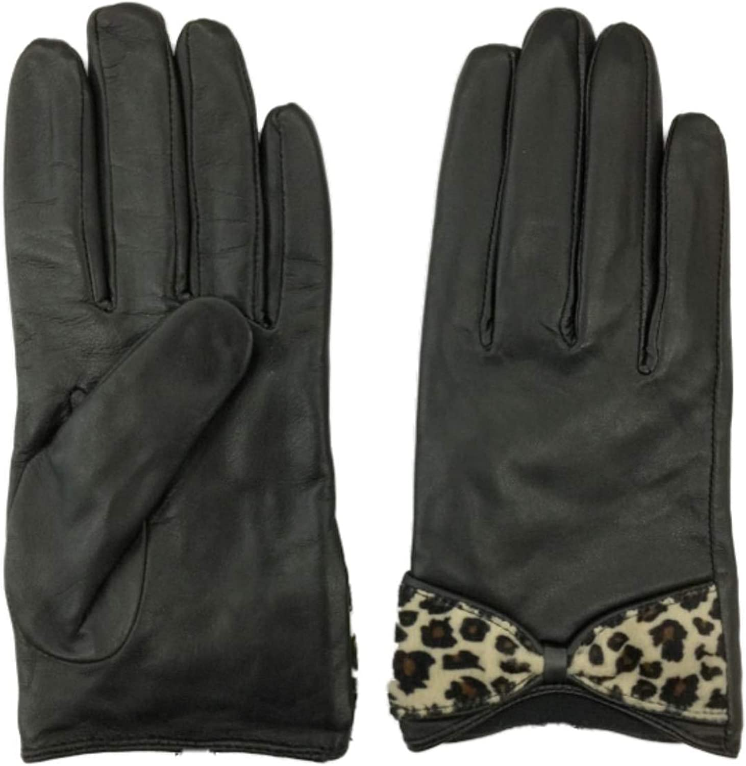 Womens Black & Brown Leopard Print Leather Gloves Lined Large/X-Large