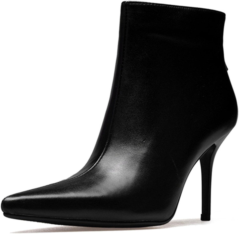 Nine Seven Genuine Leather Women's Pointy Toe Stiletto Heel Back Zip Handmade Trendy Ankle High Boots