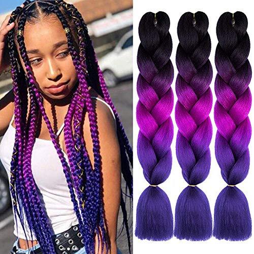 """ColorfulPanda Kanekalon Jumbo Ombre Tresse Cheveux 3 Tons 24"""", Extension de Cheveux Tresse Ombre Extension de Fibre Haute Température 3pcs / Lot 100g / pc (Noir/Violet Foncé/Violet Clair)"""