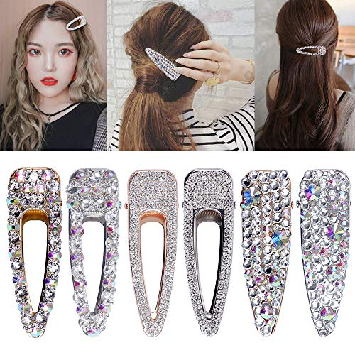 6 Stück Strass Haarspangen für Damen Mädchen Metall Kristall Haarspangen Krokodil Clip Set