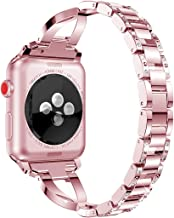 AiiKo Compatible with Apple Watch Bands 42mm 44mm Women,X Link Stainless Steel Metal Bracelet with Bling Rhinestone Jewelry Replacement for Apple Watch Series 4/3/2/1,Rose Pink