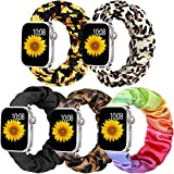 Muranne Scrunchie Elastic Band Compatible for Apple Watch 42mm 44mm for Women Girls Soft Cloth Rubber Stretchy Band Strap Bracelet for iWatch SE & Series 6 5 4 3 2 1 42mm/44mm Small 5 Pack