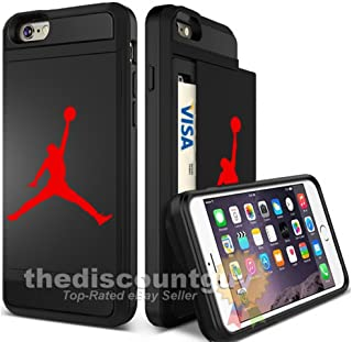 Apple iPhone 6/6S Plus - Dual-Layered Credit Card ID Storage Basketball Case Michael Jordan Store Money Cash Slide Wallet Jumpman Air Protective Cover (Black & Red)