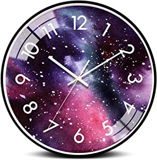 KUVV Crafts 12/14 Inch Watches/Mute Living Room Wall Clock Bedroom Home Creative Clock/Wall Decoration (Color : Purple, Si...