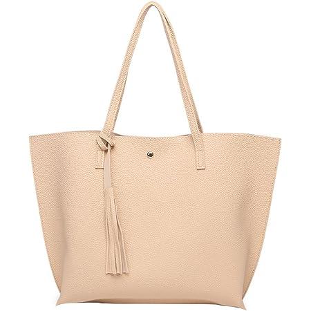 PB-SOAR Damen Mädchen Fashion Shopper Schultertasche Schulterbeutel Henkeltasche Handtasche Einkaufstasche aus Kunstleder 36x30x11cm (B x H x T) (Beige)