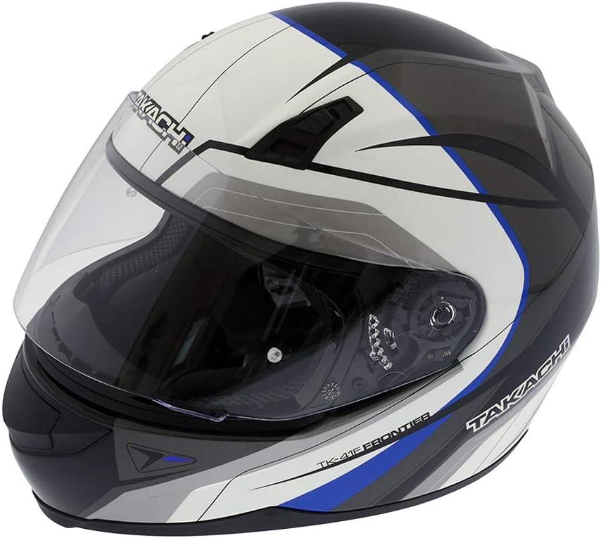 Takachi Casque Moto rollerhelm tk41 Frontier Noir et Blanc-Rouge s