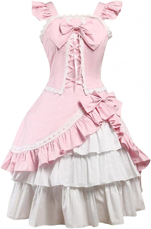Ainclu Womens Classic Sleeveless Pink LaceUp Ruffles Cotton Lolita Dress