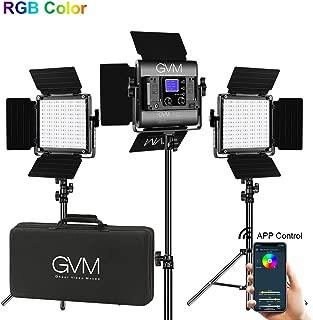 GVM RGB LED Video Lighting Kit, 800D Studio Video Lights with APP Control, Video Lighting Kit for YouTube Photography Lighting, 3 Packs Led Light Panel, 3200K-5600K