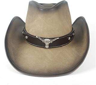 SHENTIANWEI 2019 New Men Women Leather Cowboy Hat Bull Head Band Decor Cowgirl Large Brim Jazz Cap