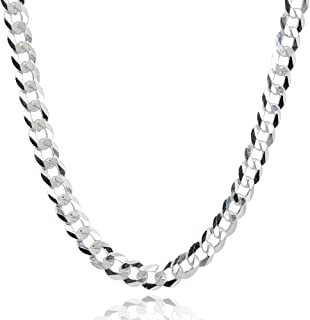 Sterling Silver Italian 5mm Diamond-Cut Cuban Curb Link Chain Necklace for Men Women
