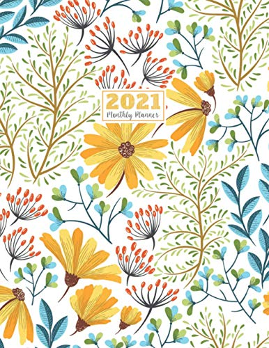 2021 Monthly Planner: 2021 see it bigger Square planner | 12-Month Planner & Calendar with holiday Size: 8.5' x 11' ( Jan 2021 - Dec 2021). For Your ... Vintage Yellow Flower Watercolor design