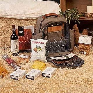 Regalo Cesta de Navidad - Mochila Picnic 4 personas con Productos Gourmet incluido, vino, jamón, chorizo, queso manchego, conservas, bizcochos ...