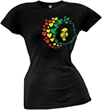 Bob Marley - Womens Hearts Juniors T-shirt Large Black