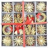 com-four® 56-teiliges Strohsterne Set - Christbaum-Schmuck - Stroh-Anhänger für den Weihnachtsbaum - natürlicher Christbaum-Behang - Weihnachtsdekoration - Ø 6 cm - 3