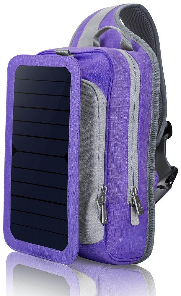 HOWO Solar cargador 6.5 paredes Panel Solar mochila para teléfonos inteligentes y Tablets, GPS, eReaders, altavoces Bluetooth, camaras Gopro (Violeta): Amazon.es: Deportes y aire libre