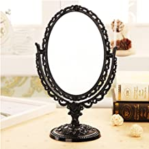 ToiM European Style Portable Plastic Mirror Dressing Table Mirror Swivel Vanity Mirror, Vintage Retro Double Sided Dressing Mirror for Dresser (Black)