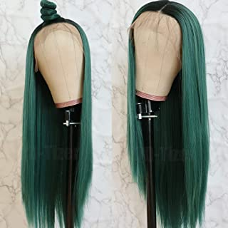 green synthetic lace front wig