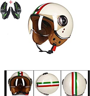 Open Face Custom 3/4 Helmet Four Seasons Breathable Bobber Moped Cafe Racer Harley Pilot Jet Moped Cruiser Retro Shell Helmet DOT Approval,White,L