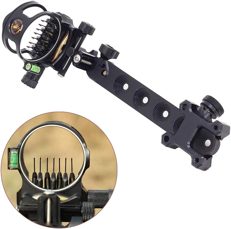 Archery Bow Sight 5 Pin  7 Pin 0.019 Optical Fiber Retinal Sight CNC Aluminum Horizontal greenical Adjustment for Compound Bow Sight Accessory