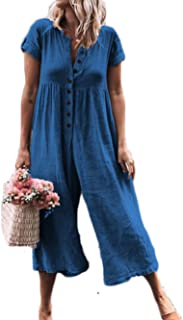 Canrulo Women's Short Sleeve Jumpsuit Button Down Wide Leg Loose Long Pants Rompers