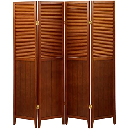 ぼん家具 パーテーション 4連 衝立 折りたたみ 高さ160cm 間仕切り おしゃれ 木製 ブラウン