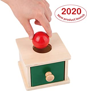 Toydaze Montessori Wooden Object Permanence Box with Drawer and Wood Ball for Montessori Babies, Montessori Ball Drop Imbucare Box Educational Learning Materials, Baby Shower| First Birthday Gift Toys