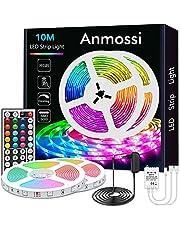 Anmossi LED Strip 10m,RGB LED Strip met 44 Toetsen Afstandsbediening,Kleurwissel en Dimbare LED Strip Lights,SMD 5050 LED Chips Verlichting LED Strip Kit voor Thuis,Slaapkamer,Feestdecoratie
