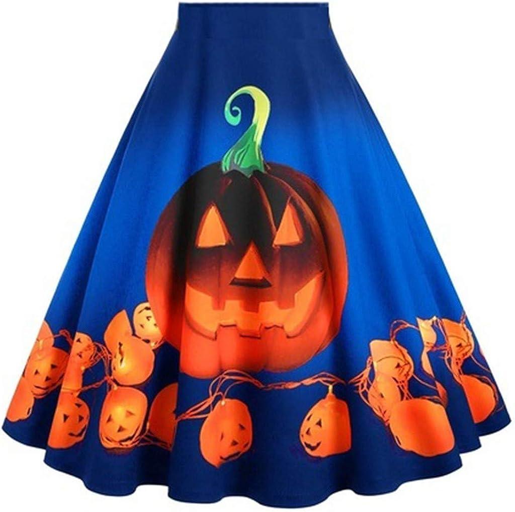 aihihe Skirts for Women Knee Length Pumpkin Print Halloween Dresses High Waist Casual Loose A-Line Flared Skirt Dress Blue
