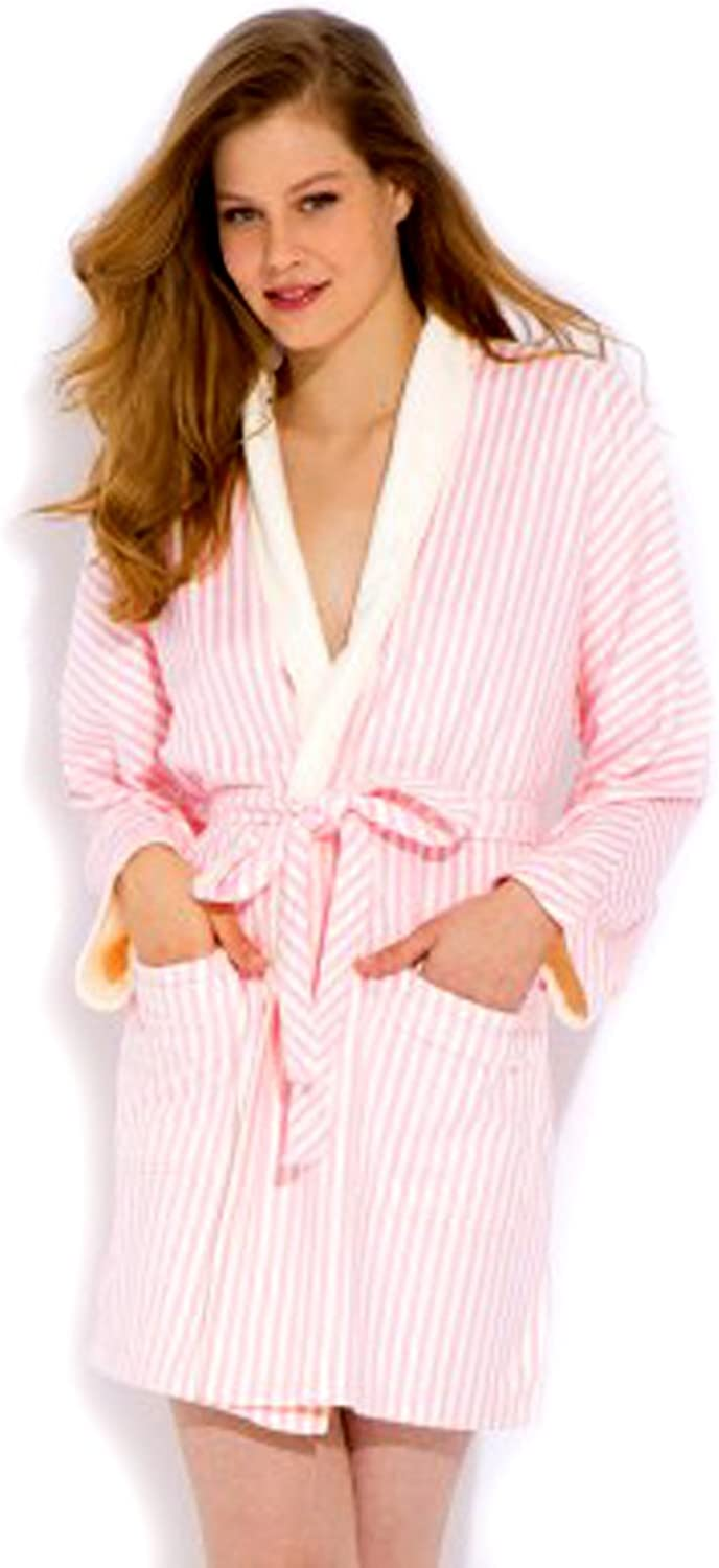 Wrap Up by VP Pink and White Stripe Microfiber short Robe, S M