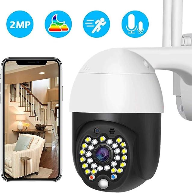 Cámara WiFi Exterior Cámara PTZ Vigilancia Exterior IP Visión Nocturna Detección de Movimiento Sonido y Luz Advertencia Monitorización Remota vía Smartphone/Tableta