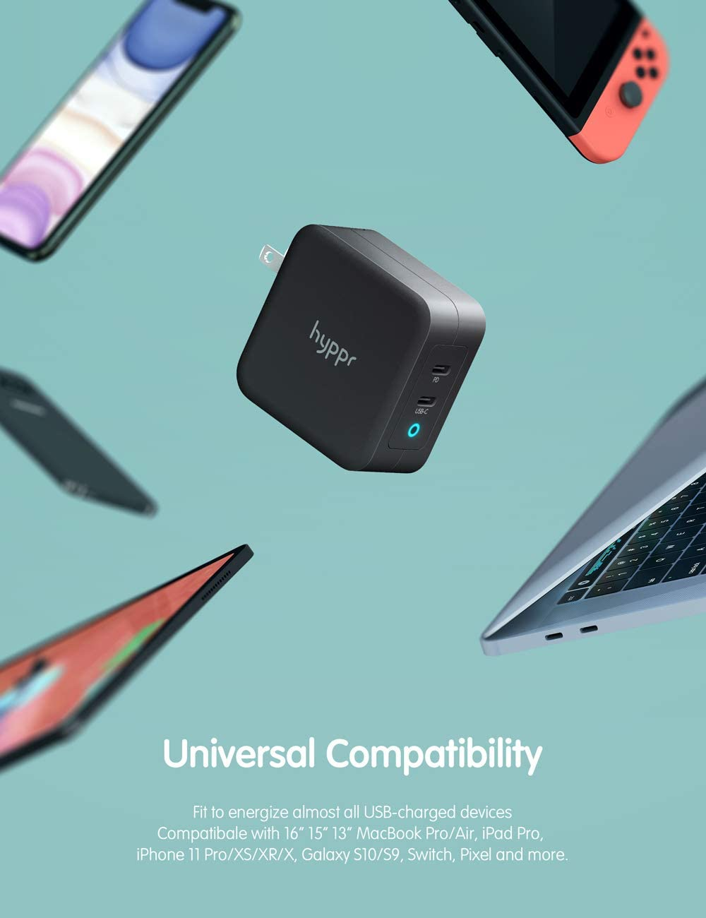 hyppr 100W USB C Charger Macbook Fast Type C Wall Charger with GaN Tech /& PD 3.0 Foldable Dual Port Tablet Adapter PD Charger Compatible with MacBook Pro Air iPad Pixel iPhone 11//XS//XR Galaxy /& More