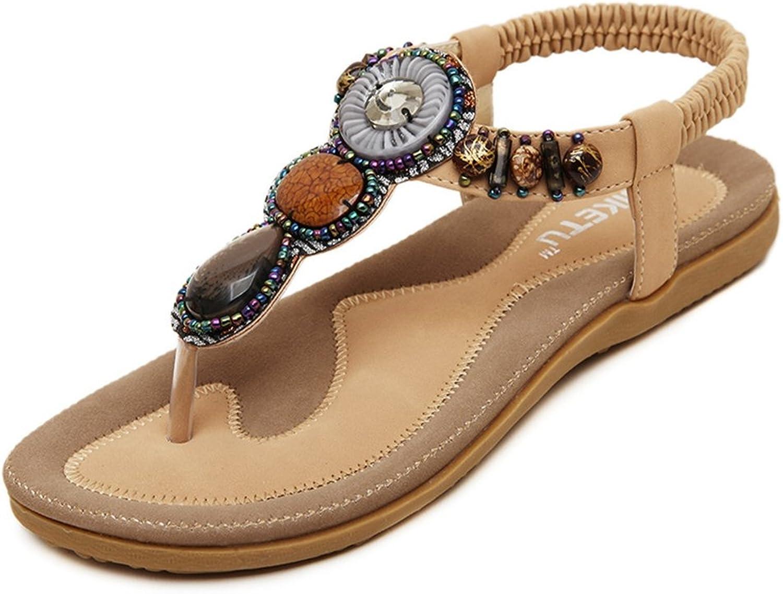 U-MAC Women's Thongs Elastic T-Strap Bohemian Rhinestone Slip on Flip Flops Beach Flats Sandals