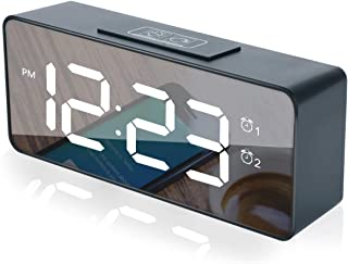 Aomago Led Digital Alarm Clock - Battery Operated Desk Clock USB Charging for Bedrooms with Battery Backup,Adjustable Volu...