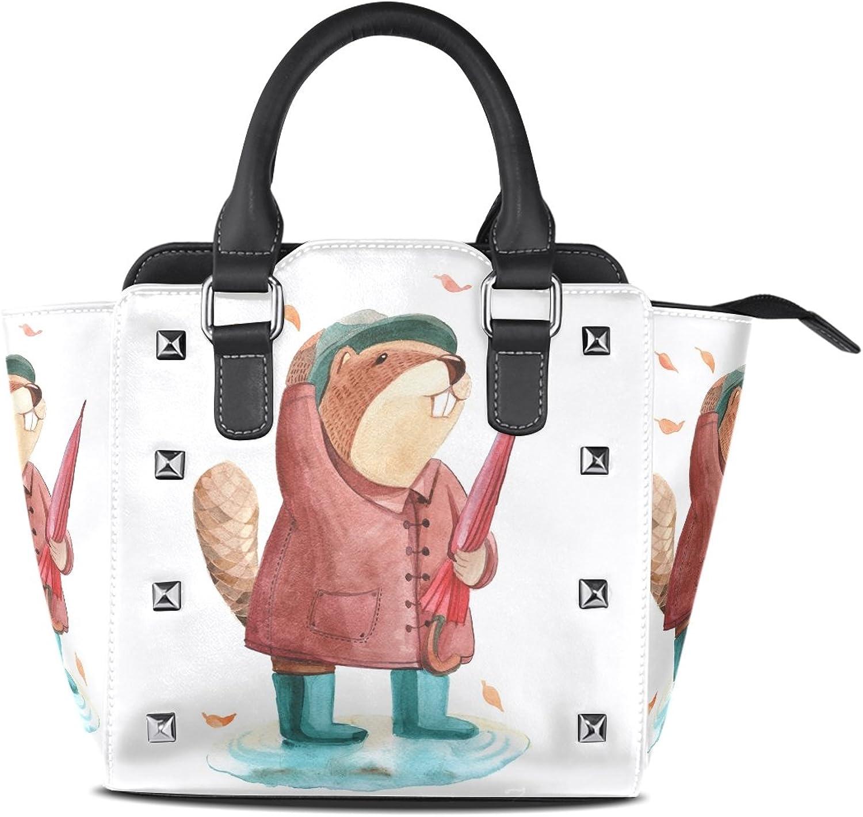 My Little Nest Women's Top Handle Satchel Handbag Watercolor Beaver Ladies PU Leather Shoulder Bag Crossbody Bag