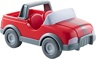 HABA Little Friends Vet Car - Red Plastic Jeep with Momentum Motor, Trailer Hitch and Folding Tail Gate