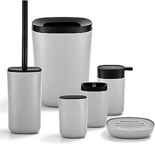 GRICOL Salle de Bain Accessoires 6 Set en Plastique Coupe à Savon Poubelle et Brosse à Toilettes avec Support Gris