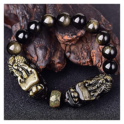 Oro Obsidian Wealth Feng Shui Bracelet Dragon Pixiu/Piyao Amuleto Pulsera Prosperidad Corazón Sutra Buddha Buddha Brazals Pulsera Atraer la Buena Suerte Dinero Love Jade Bangle Regalo para Mujeres /