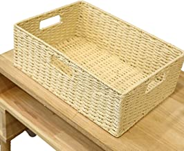 YAYADU Storage basket Grass fiber home Finishing Box Rectangular Three buckle clothes Baskets Kitchen Bathroom Multipurpos...