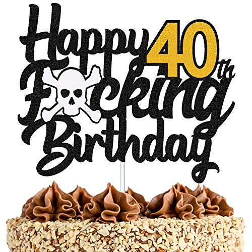 40 Birthday Cake Topper Happy 40th Birthday Cake Decoration for Men Women Him Her Forty Years Old Bday Party Supplies Black Glitter Décor