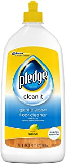 Pledge Wood Floor Cleaner Liquid, Shines Hardwood, Removes Dirt, Safe and Gentle, Lemon, 27 fl oz
