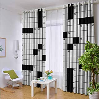 Andrea Sam Thermal Curtains Word Search Puzzle,Blank Newspaper Style Crossword Puzzle with Numbers in Word Grid,Black and White,W63 by L63 Inch Blackout Window Curtain Panels